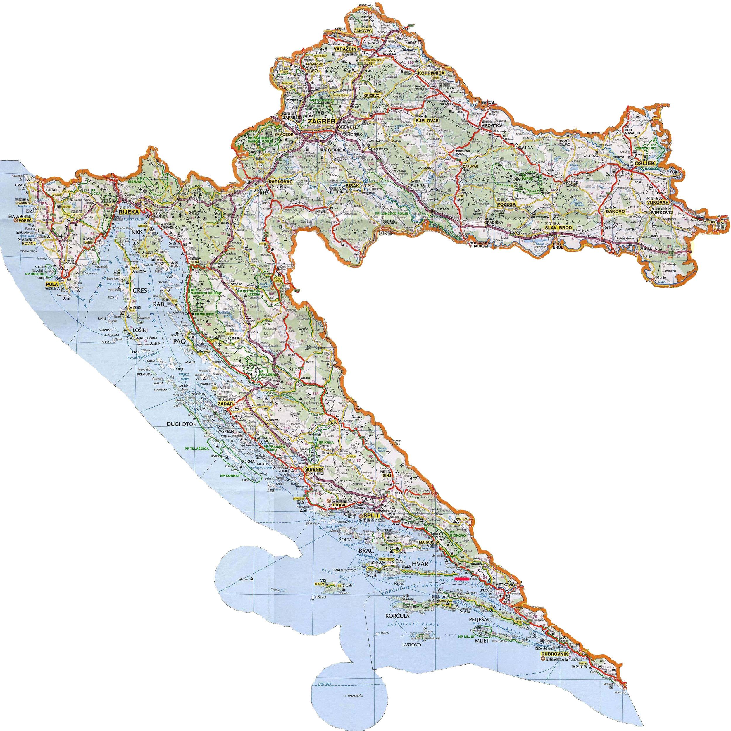 Auto Karta Hrvatske I Italije   Karta